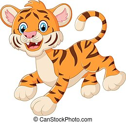 cute tiger cub is smiling - vector illustration of cute...