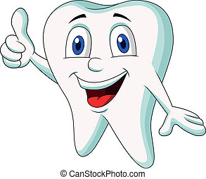 Cute tooth cartoon thumb up