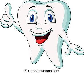 Vector illustration of Cute tooth cartoon thumb up