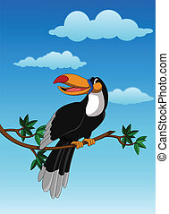 cute toucan sitting on tree