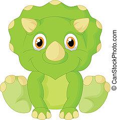 Cute triceratops cartoon - Vector illustration of Cute ...