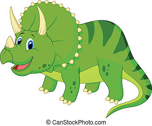Cute triceratops cartoon - Vector illustration of Cute...