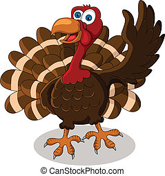 cute turkey cartoon - vector illustration of cute turkey...