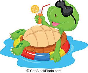 Cute turtle cartoon on inflatable r - Vector illustration of...