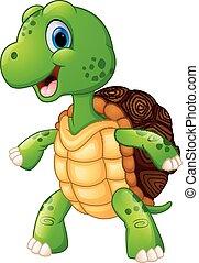 Cute turtle cartoon posing - vector illustration of Cute...