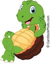Cute turtle cartoon posing