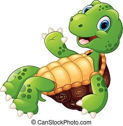 Cute turtle cartoon posing - vector illustration of Cute ...