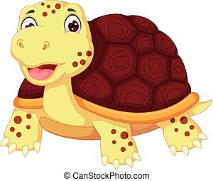 cute turtle cartoon posing with smiling