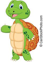 Cute turtle cartoon presenting