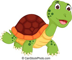 cute turtle cartoon standing with smiling - vector...