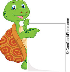 Cute turtle cartoon with blank sign - Vector illustration of...