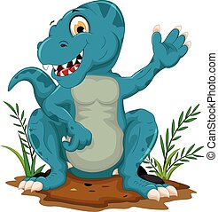 cute tyrannosaurus cartoon posing