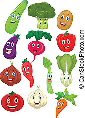 Cute vegetable cartoon character - Vector illustration of ...