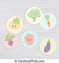 vector illustration of cute vegetables circle for magnets, stickers, cupcake toppers, gift tags,envelope seals, cards, bookmarks, scrapbooking on a wooden backdrop