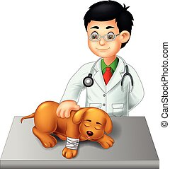 cute veterinarian cartoon checking dog with laughing