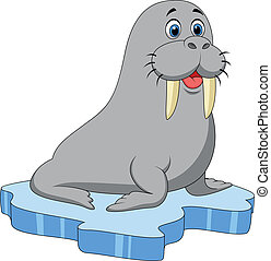 Cute walrus cartoon on ice - Vector illustration of Cute...