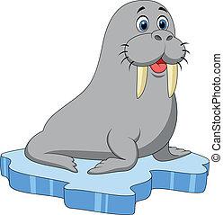 Cute walrus cartoon on ice - Vector illustration of Cute ...