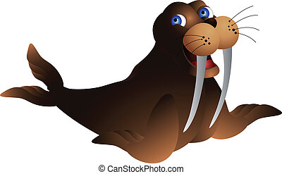 cute walrus - vector illustration of cute walrus