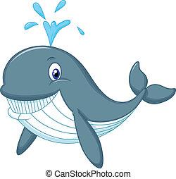 Cute whale cartoon - Vector illustration of Cute whale...
