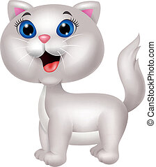 Cute white cat cartoon - Vector illustration of Cute white ...