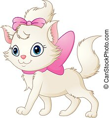 Cute white cat with pink bow