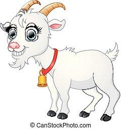 Cute white goat cartoon