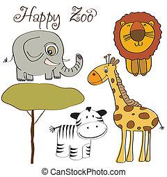 cute wild animal set