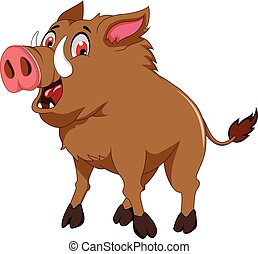 cute wild boar cartoon
