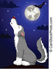 Vector illustration of Cute wolf cartoon fowling