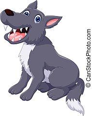 cute wolf cartoon posing