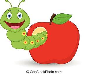 Cute worm cartoon in the apple