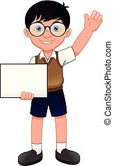 cute young boy with blank sign