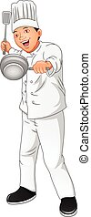 young chef holding saute fork and pan