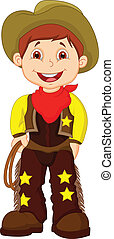 Cute young cowboy cartoon holding l