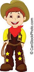 Cute young cowboy cartoon holding l