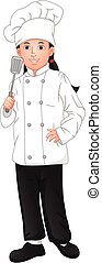 cute young girl chef holding spatula