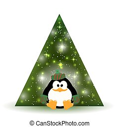 Vector illustration of cute young penguin near the Christmas tree on a white background.