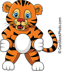 cute young tiger cartoon expression