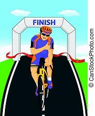 Cyclists winner biking road bicycle across the finish line