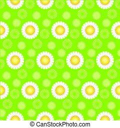 vector illustration of daisy green seamless pattern