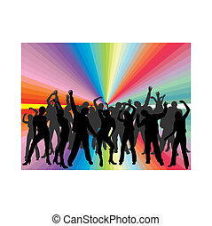 vector illustration of dancing people silhouettes on an abstract background