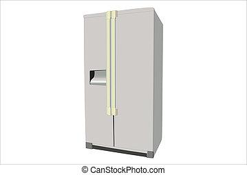 refrigerator - vector illustration of dark grey refrigerator...