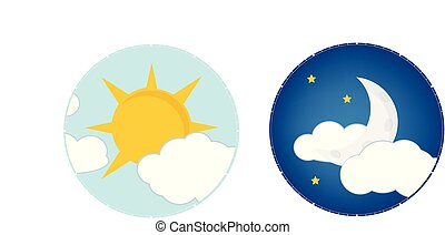 Day night concept, sun and moon, day night icon