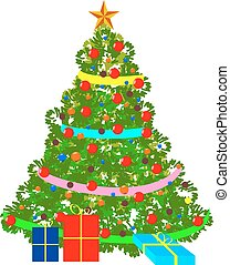 Vector illustration of decorated Christmas tree.