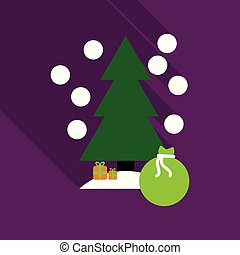 vector illustration of decorated Christmas tree with big bag of gifts