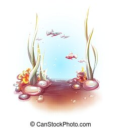 Vector illustration of decorative corals and seaweed.