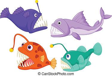Deep sea fish - vector illustration of Deep sea fish