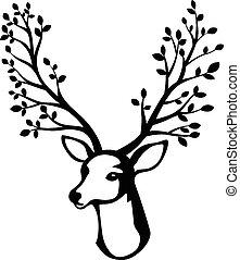 Deer head cartoon with tree branch