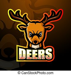 Deer head mascot esport logo design