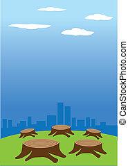 deforestation - Vector illustration of deforestation against...